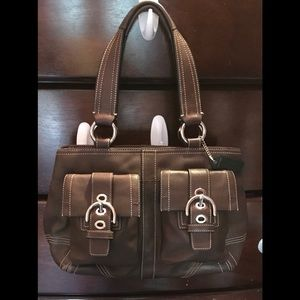 Coach Leather Soho Double Pocket Satchel